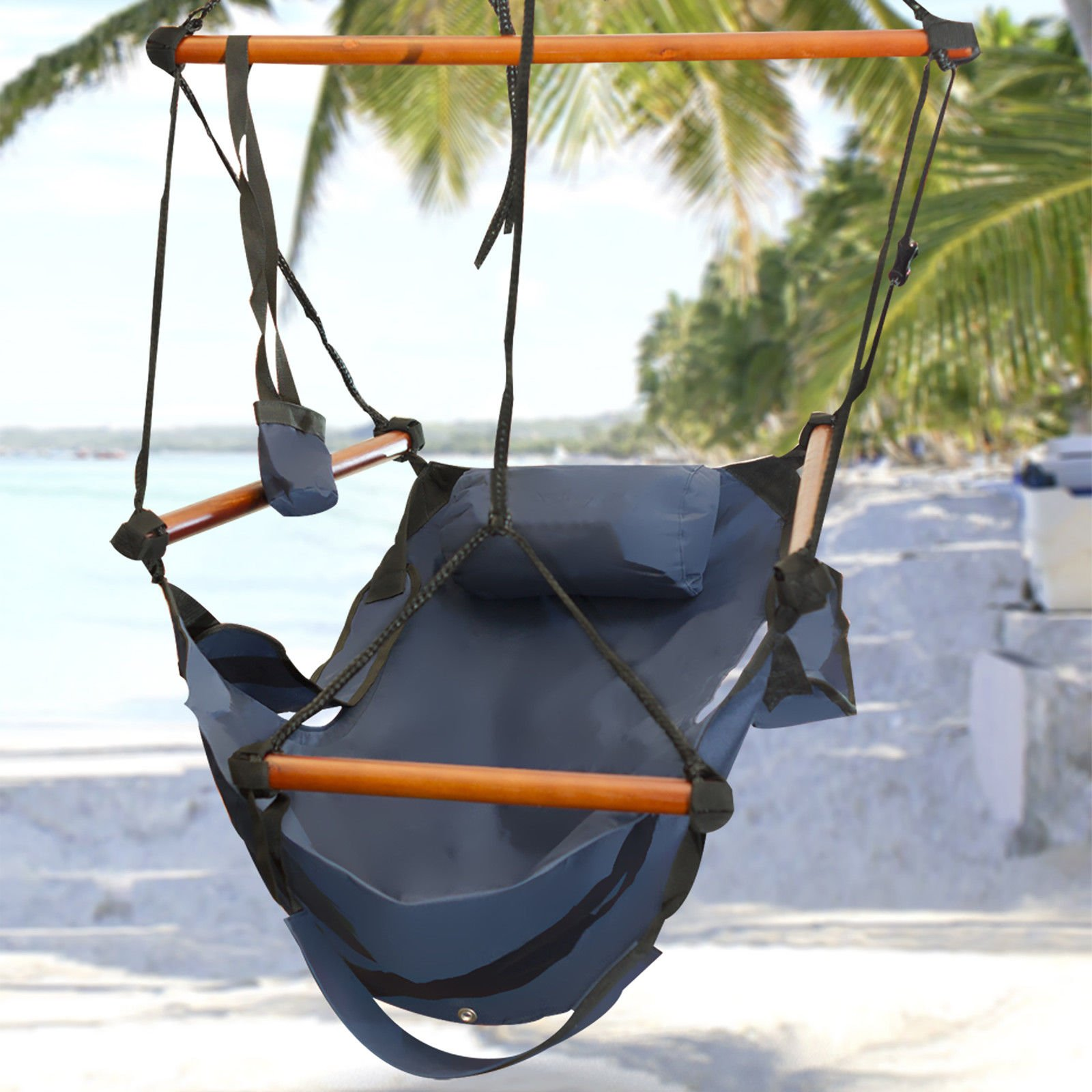 Best Choice Products Hammock Hanging Chair Air Deluxe Outdoor Chair Solid Wood 250lb Blue Buy Online In Belize At Desertcart Productid 2289263