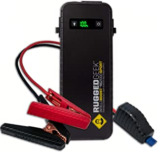 Rugged Geek RG2000 SPORT 2000A Portable 12V Jump Starter/Booster Pack and Power Supply with LED Display, INTELLIBOOST Smart Cables, LED Flashlight, 60W USB Type-C Charging. IP66 Rated.