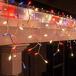 Outdoor Patriotic Lights - Red, White and Blue Lights - Patriotic Decorations, July 4 Decorations, Fourth of July Decorations (150 Icicle Lights, 9 Ft, Red, White and Blue)
