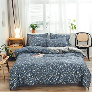 RQF2 Cotton Bedding Duvet Cover Sets Reversible Warm Velvet Flannel Duvet Cover Pillow Cases and Flat Sheet Use It As Blanket or Throw in Spring and Autumn,Blue,200230cm