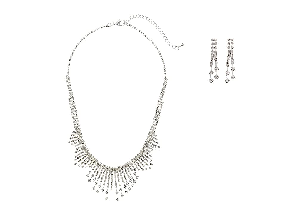 1930s Outfit Ideas for Women Nina Art Deco Burst Collar Necklace w Earrings RhodiumWhite CZ Jewelry Sets $65.00 AT vintagedancer.com