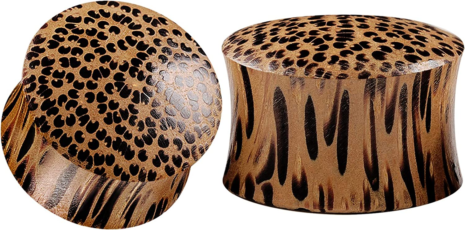 BIG GAUGES Free shipping New Pair of Coconut Wood Flared E Jewelry Max 50% OFF Double Piercing