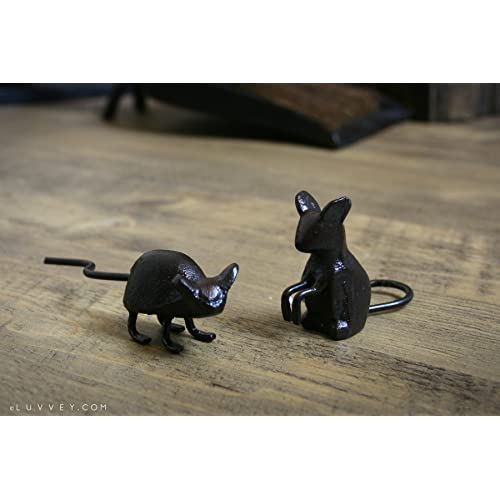 Set of 2 Cast Iron Mini Decorative Mice