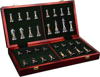 Luckyw Schackbräda massivt trä schackbräde zinklegering plätering schackspel bästa presenterna för inredning
