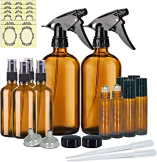 12 Pack Amber Glass Essential Oil Bottle Kits, Glass Spray Bottle,Glass Bottles for Essential Oils, (2 x 16oz, 4 x 2oz, 6 x 10ml) with Labels, for Aromatherapy Facial Hydration