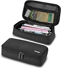 ProCase Pencil Bag Pen Case, Large Capacity Students Stationery Pouch Pencil Holder Desk Organizer with Double Zipper, Portable Pencil Pouch for School Office Supplies –Black