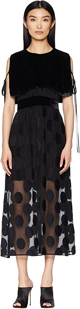 Polka Dot Fille Coupe Dress with Velvet Cape Overlay