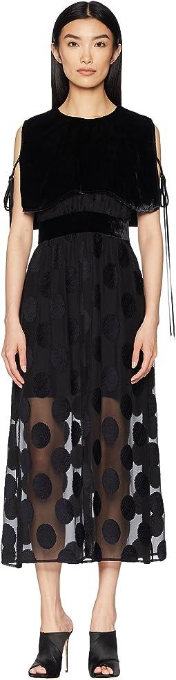 Polka Dot Fille Coupe Dress with Velvet Cape Overlay