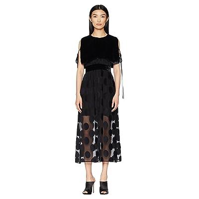 YIGAL AZROUEL Polka Dot Fille Coupe Dress with Velvet Cape Overlay (Jet) Women