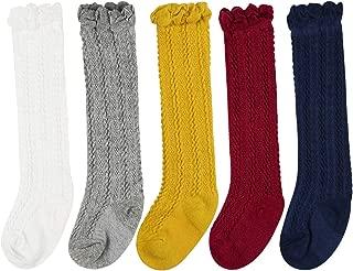 BQUBO Baby Knee High Sock Toddler Girl Breathable Dress Socks Unisex Baby Knit Stocking Cotton Infant Girls Socks