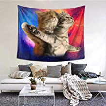 Hazhisha Funny Two Cats Titanic Wall Hanging Tapestry Art Home Decorations for Living Room Bedroom Dorm Decor in 60 X 51 Inches
