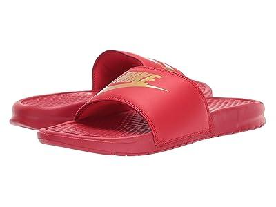 Nike Benassi JDI Slide (University Red/Metallic Gold) Men