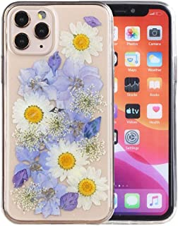 iPhone 11 Pro Case, iYCK Handmade [Real Dried Flower] Pressed Floral Flexible Soft Rubber TPU Protective Shell Bumper Back Case Cover for Apple iPhone 11 Pro 5.8 inch 2019 - Purple White Flower