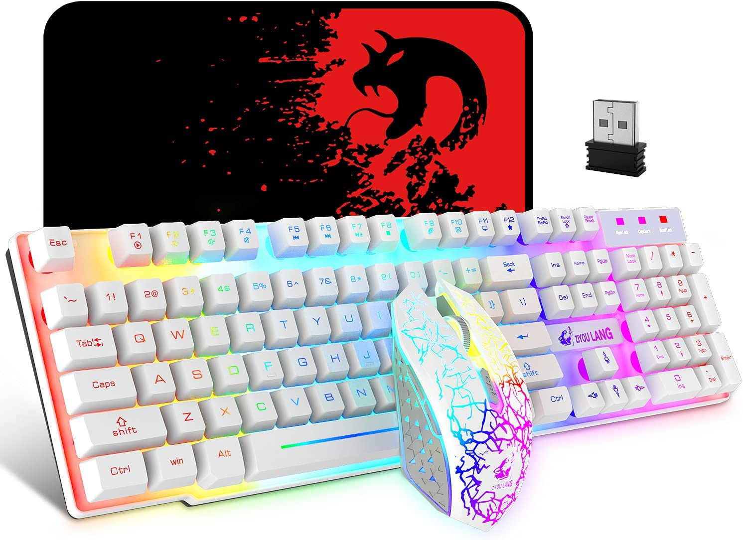 Wireless Gaming Keyboard and Mouse,Rechargeable Rainbow Backlit Keyboard Mouse with 3800mAh Battery,Mechanical Feel Gaming Keyboard,7 Color Gaming Mute Mouse,Gaming Mouse Pad for PC Gamer(White)