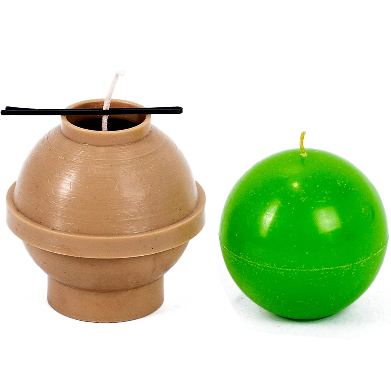 Ball Diameter: 3.1 in - Sphere - 30 ft. of Wick Included as a Gift - Plastic Candle molds for Making Candles