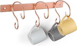Wall Mounted 6-Hook Scrollwork Design Copper-Tone Mug & Tea Cup Holder, Kitchen Storage Rack