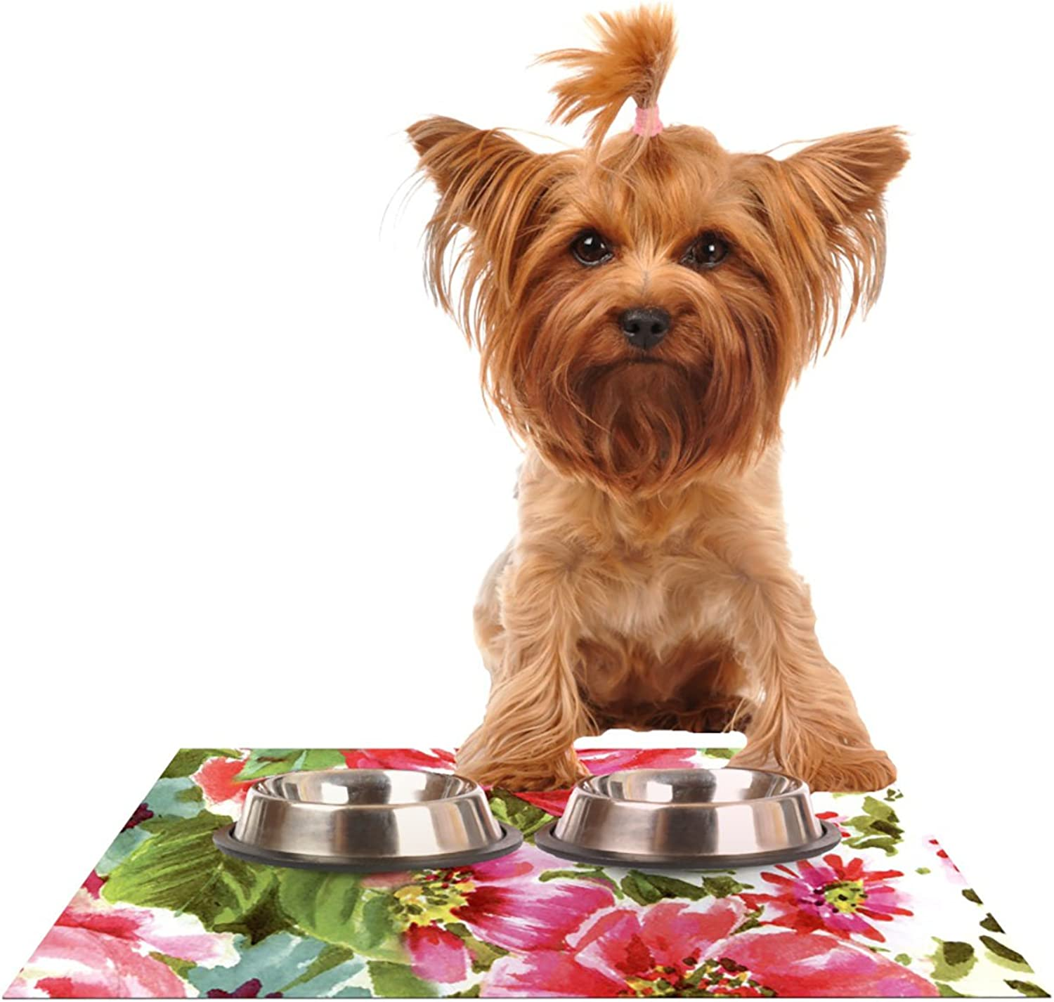 KESS InHouse Heidi Jennings Walk Through The Garden  Pink Flowers Pet Bowl Placemat for Dog and Cat Feeding Mat, 24 by 15Inch