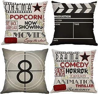Gspirit Taie d'oreiller, Lot de 4 en Coton et Lin Imprimé Film Rétro Housse De Coussin carré pour Lit Voiture De La Maison...