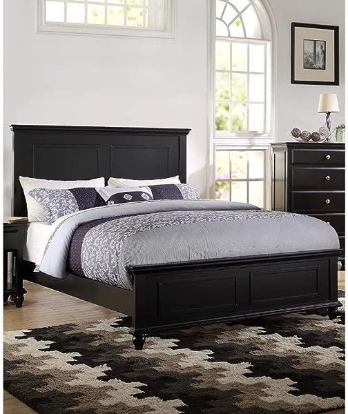 Benzara BM168425 Seamless Wooden C King Black Bed