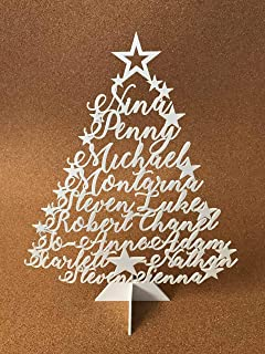Make Your Own Personalized Christmas Tree Family Names Stand Name Ornament Laser Cut Xmas Tree Plaque Freestanding Custom Sign Decoration Unique Gift for Christmas Star Festive Holidays Home Decor