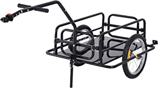 Aosom Folding Bicycle Cargo Trailer Utility Bike Cart Garden Luggage Travel Carrier Patio Tool with Hitch Heavy Duty Black
