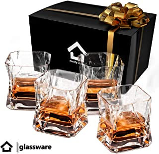 Whiskey Glasses Set of 4 in Gift Box- New Style Old Fashioned Drink Glasses - Glassware set - Scotch Brandy or Bourbon Tumblers, 10.5 oz. (Clear Glass)