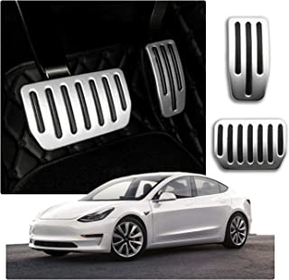 CDEFG für Model 3 Auto Bremse Gaspeda Aluminiumlegierung Fußstütze Anti Rutsch Bremse Pedalkappen (Silber)