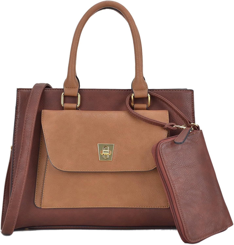 Dasein Handbags for Women Leather Tote Purses Satchel Handbags colorblock Briefcases