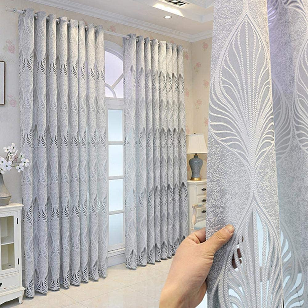 Grey Jacquard Sheer Curtains New life for Leaves Living Ranking TOP18 Ligh Pattern Room