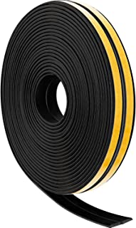 12 M Weather Strips Foam Tape Seal Strips Door Window Draught Excluder EPDM Tape Self Adhesive Weatherstrips for Sound Wind Noise Proof (Black)