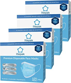 (125ct Box) Disposable Face Mask Premium Soft Earloop 3-Ply Hypoallergenic Medical Surgical Dental Flu Procedural (500 Masks (4 Boxes), Blue)