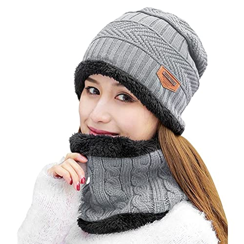 e04483c6273ef HINDAWI Womens Beanie Winter Hat Scarf Set Slouchy Warm Snow Knit Skull Cap