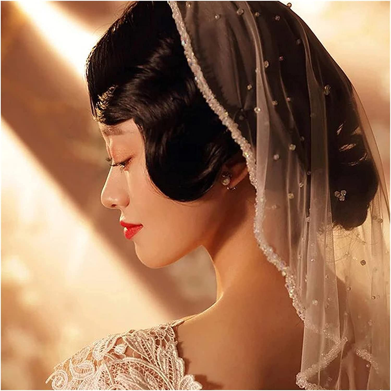 xunyang Oklahoma City Mall Short Crystal half Beads Wedding Veil Luxurious Ivory Bridal