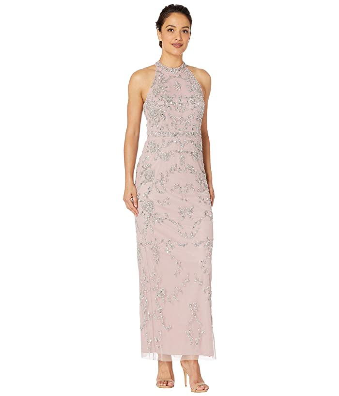 Downton Abbey Inspired Dresses Adrianna Papell Petite Beaded Halter Evening Gown Petal Womens Dress $131.68 AT vintagedancer.com