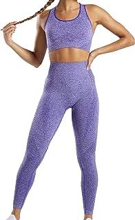 Celiopea Women's 2 pieces Yoga Set Gym Wear Seamless Outfit Ladies Workout Fitness Clothes Sports Bra High Waist Leggings ...