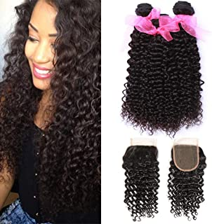 10A Malaysian Remy Curly Hair with Closure (20 22 24+18Inch Closure) Unprocessed Malaysian Kinky Curly Human Hair Weave Extensions Free Part Lace Closure Natural Color