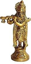 "Brass Makhan Chor Laddoo Gopal Baby Krishna Kishan Thakurji Murti Idol Statue Sculpture (3.5"" Brass)"