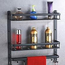 Yxsd Aluminium badkamerstandaard, wandmontage voor badkamer, make-up standaard, handdoekenrek, keukenplank (Kleur: twee la...