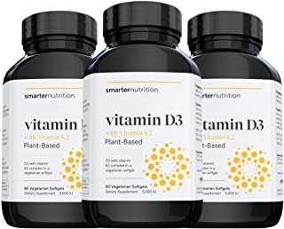 Plant-Based Vitamin D3 Immune Support with Vegan K2 Complex in a Vegetarian Softgel - Includes 5,000 IU of Vitamin D for I...