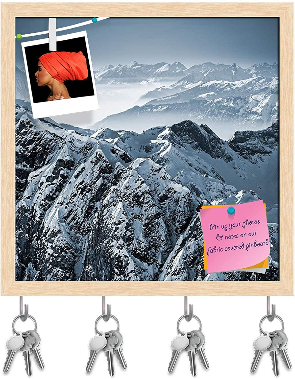 Artzfolio Swiss Alps View from Mount Titlis Switzerland Key Holder Hooks   Notice Pin Board   Natural Brown Frame 20 X 20Inch