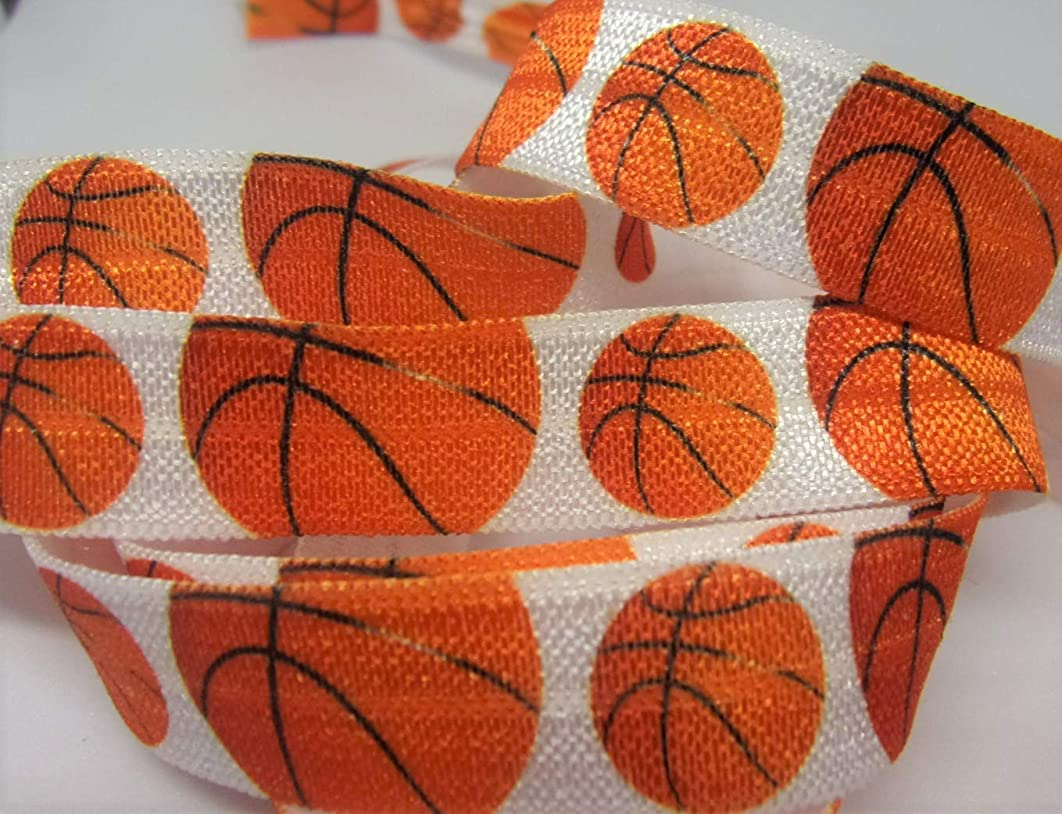 Fold Over Elastic - Basketball FOE - White Elastic with Large and Small Ball Print - Great for Team Hair Ties and Wrist Ties.