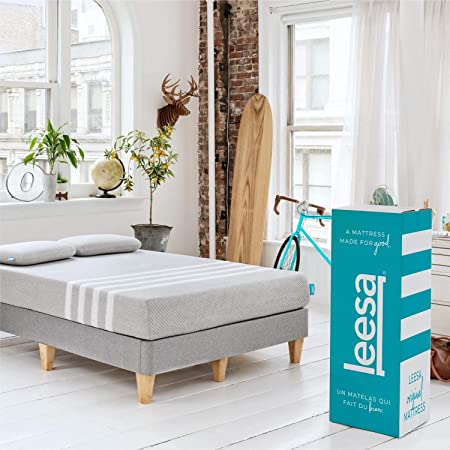 """Leesa Original 10"""" Memory Foam Bed-in-a-Box, Queen Size, with Breathable Cotton Mattress Cover"""