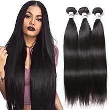 Ornate Hair Brazilian Straight Human Hair 3 Bundles 8A Brazilian Virgin Human Hair Weave Bundles Remy Hair Extensions Natural Black (12 14 16 Inch)