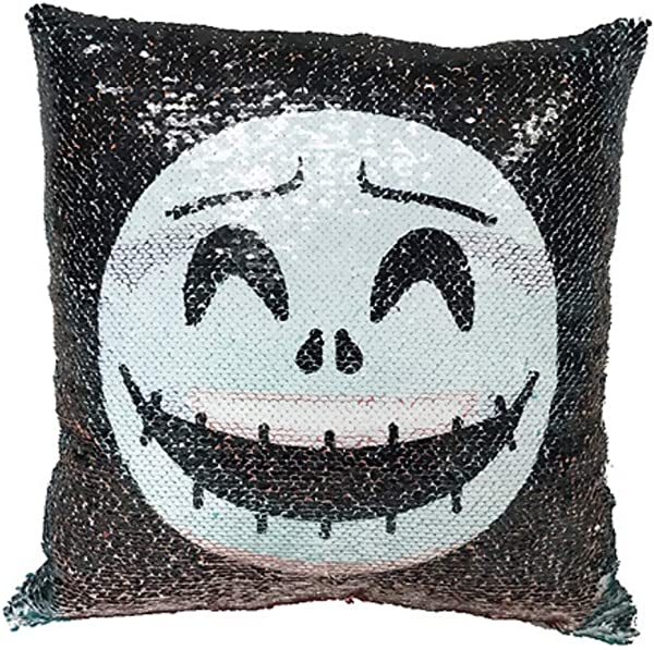 Nightmare Before Christmas Jack Skellington And Sally Sequined Pillow Cushion