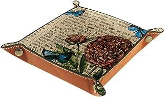 FCZ Plateau de rangement en cuir avec motifs papillons et coquelicots sur journaux - Boîte de rangement pour bijoux, clés,...