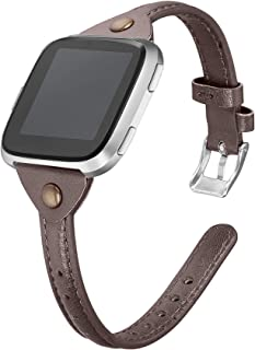 bayite Slim Leather Bands Compatible with Fitbit Versa/Versa Lite/SE Smartwatch, Breathable Soft Genuine Leather Strap Women (5.3-7.8)