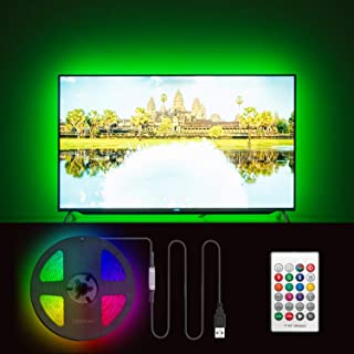 Hamlite LED TV Backlight 60 65 Inch TV Bias Lighting - 13.1ft USB TV Lights Strip Behind TV Wall Mount Ambient Backlighting Home Theater Decor, Cover 4/4 Sides TVs, 18 Colors, 6 Dynamic Modes