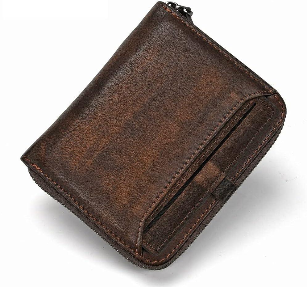 Popular brand Lingwu Minimalist Mens Genuine Leather Card Zipper 25% OFF Credit Wallet