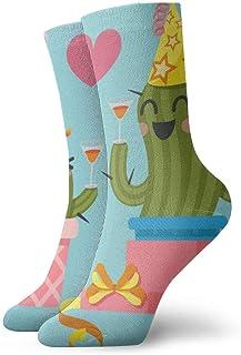 Sunny R, Pareja amorosa de cactus en la fiesta de cumpleaños Calcetines deportivos de compresión a media pierna 30 cm Niño niña