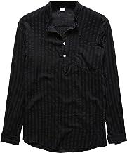 BIBOKAOKE Heren shirt met lange mouwen opstaande kraag lange mouwen met borstzak losse longsleeve vrijetijdshemd basic eff...